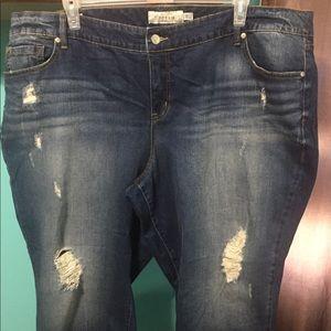 Torrid Dark Wash Distressed Boyfriend Jeans
